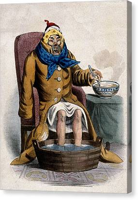 Hydrotherapy, Cure Of Common Cold, 1833 Canvas Print by Wellcome Images