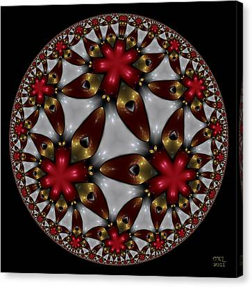 Canvas Print featuring the digital art Hyper Jewel I - Hyperbolic Disk by Manny Lorenzo