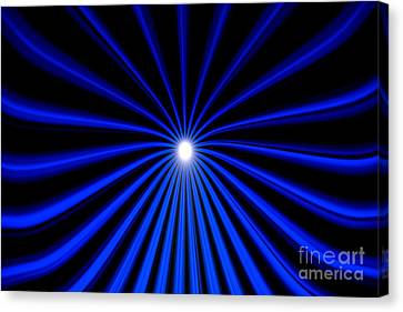 Canvas Print featuring the painting Hyperspace Blue Landscape by Pet Serrano