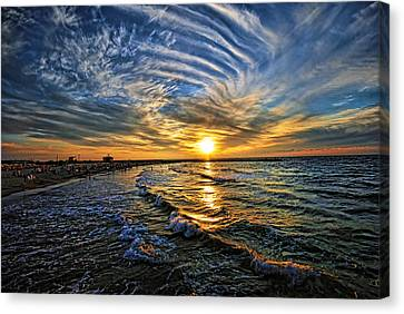 Canvas Print featuring the photograph Hypnotic Sunset At Israel by Ron Shoshani