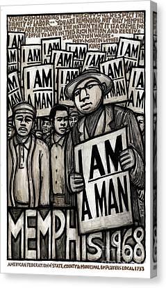 Civil Rights Canvas Print - I Am A Man by Ricardo Levins Morales