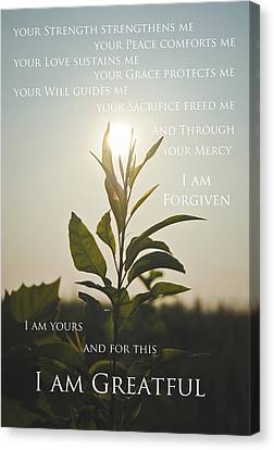 I Am Greatful Canvas Print by Swift Family