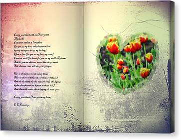 Books Canvas Print - I Carry Your Heart With Me  by Bill Cannon