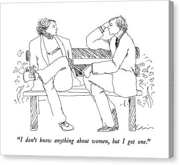 Park Benches Canvas Print - I Don't Know Anything About Women by Richard Cline
