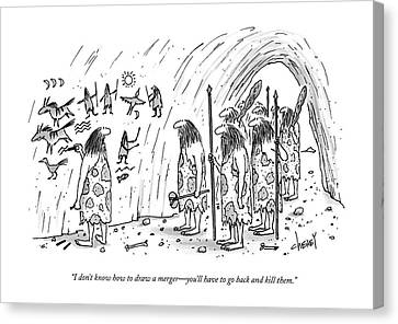 Cave Art Canvas Print - I Don't Know How To Draw A Merger - You'll by Tom Cheney