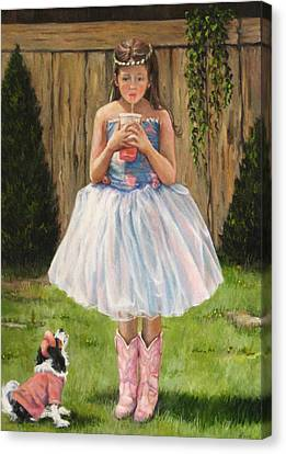 Canvas Print featuring the painting I Dressed Myself by Donna Tucker