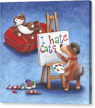 I Hate Cats Canvas Print by Peter Adderley