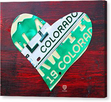 I Heart Colorado License Plate Art Canvas Print by Design Turnpike