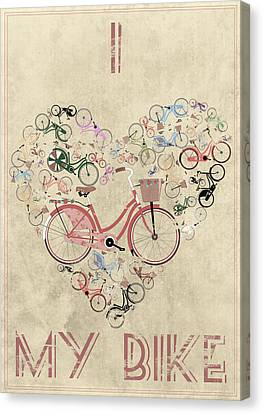 I Heart My Bike Canvas Print by Andy Scullion