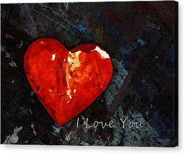 I Just Love You - Red Heart Romantic Art Canvas Print by Sharon Cummings