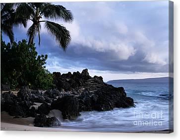 Hawaiian Rock Art Canvas Print - I Ke Kai Hawanawana Eia Kuu Lei Aloha - Paako Beach Maui Hawaii by Sharon Mau