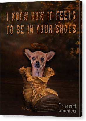 Canvas Print featuring the digital art I Know How It Feels To Be In Your Shoes by Kathy Tarochione