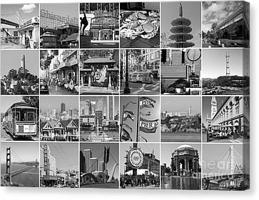 I Left My Heart In San Francisco 20150103 Horzontal Bw Canvas Print by Wingsdomain Art and Photography