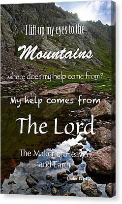 I Lift My Eyes To The Mountains Psalm 121 Canvas Print by Aaron Spong