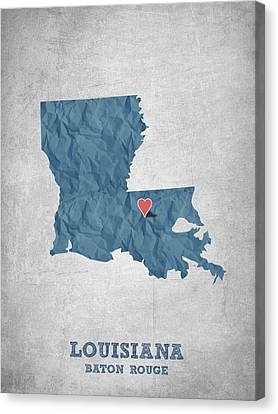 I Love Baton Rouge Louisiana - Blue Canvas Print by Aged Pixel