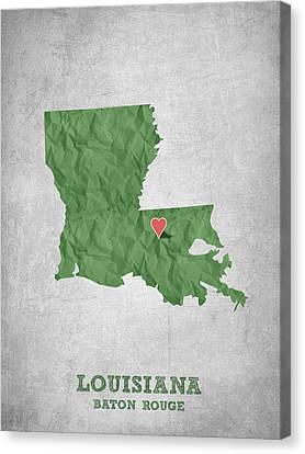 I Love Baton Rouge Louisiana - Green Canvas Print by Aged Pixel