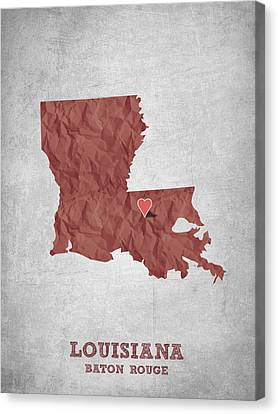 I Love Baton Rouge Louisiana - Red Canvas Print by Aged Pixel
