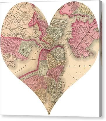 I Love Boston Heart Map Canvas Print by Georgia Fowler