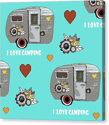 I Love Camping Pattern Canvas Print by Sarah Ogren