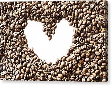I Love Coffee Beans Canvas Print by Georgia Fowler