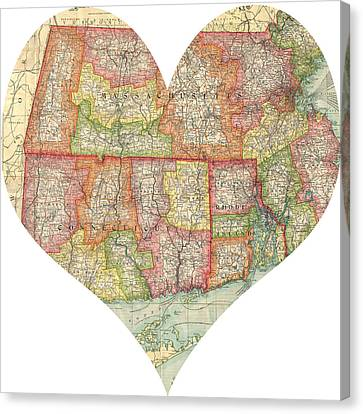 I Love Conneticut Rhode Island And Massachusetts Heart Map Canvas Print by Georgia Fowler