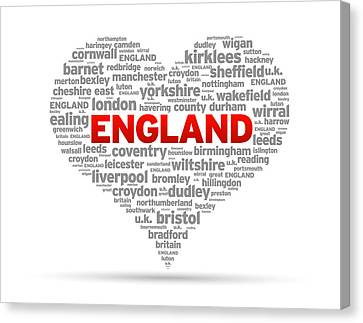 I Love England Canvas Print by Aged Pixel
