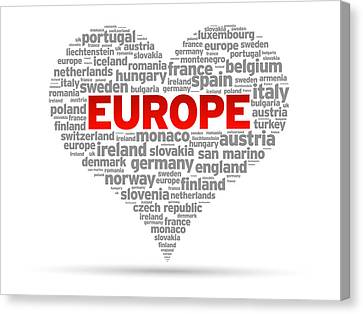 I Love Europe Canvas Print