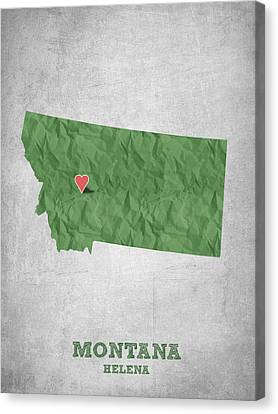 State Of Montana Canvas Print - I Love Helena Montana - Green by Aged Pixel
