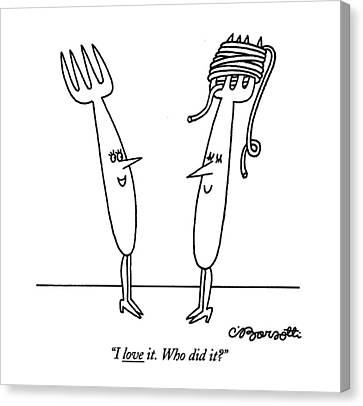 Forks Canvas Print - I Love It. Who Did It? by Charles Barsotti