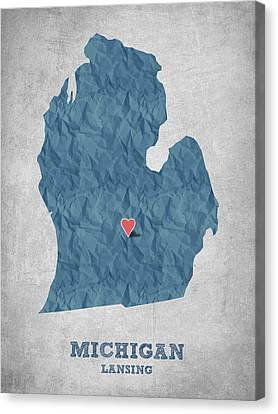 I Love Lansing Michigan - Blue Canvas Print by Aged Pixel