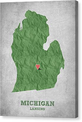 I Love Lansing Michigan - Green Canvas Print by Aged Pixel