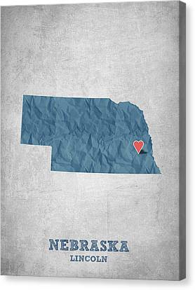 I Love Lincoln Nebraska - Blue Canvas Print by Aged Pixel