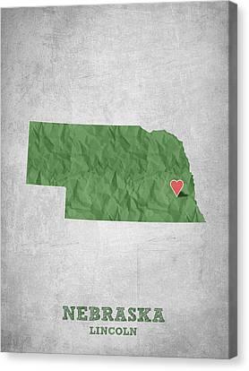 I Love Lincoln Nebraska - Green Canvas Print by Aged Pixel