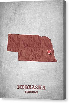 I Love Lincoln Nebraska - Red Canvas Print by Aged Pixel