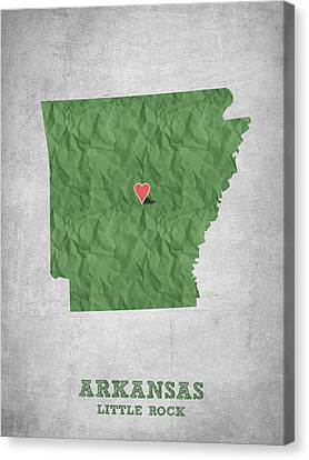I Love Little Rock Arkansas - Green Canvas Print by Aged Pixel