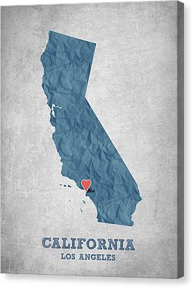 I Love Los Angeles California - Blue Canvas Print by Aged Pixel