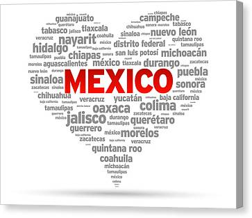 I Love Mexico Canvas Print