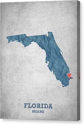 I Love Miami Florida - Blue Canvas Print by Aged Pixel