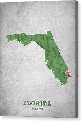 I Love Miami Florida - Green Canvas Print by Aged Pixel