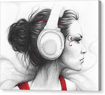 Woman Drawings Drawings Canvas Print - I Love Music by Olga Shvartsur