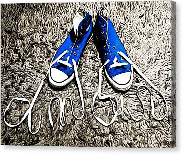I Love My Blue Suede Tennis Shoes Canvas Print by Georgina Noronha