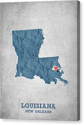 I Love New Orleans Louisiana - Blue Canvas Print by Aged Pixel