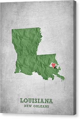 I Love New Orleans Louisiana - Green Canvas Print by Aged Pixel