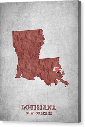 I Love New Orleans Louisiana - Red Canvas Print by Aged Pixel