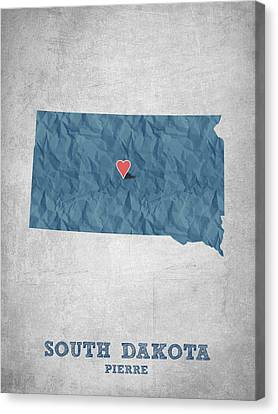 I Love Pierre South Dakota - Blue Canvas Print