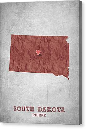 I Love Pierre South Dakota - Red Canvas Print