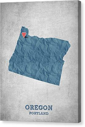 I Love Portland Oregon- Blue Canvas Print by Aged Pixel