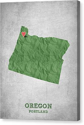 I Love Portland Oregon- Green Canvas Print by Aged Pixel