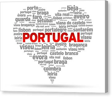 Patriotism Canvas Print - I Love Portugal by Aged Pixel