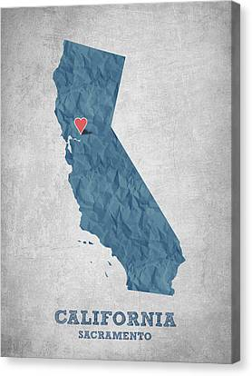 I Love Sacramento California - Blue Canvas Print by Aged Pixel